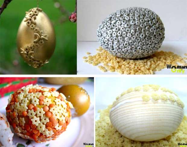 Как сделать поделку из макарон яйцо 33